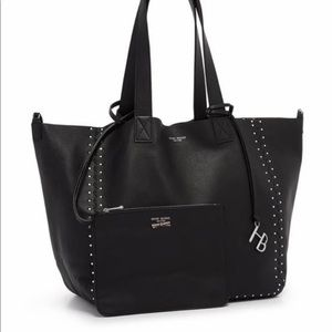 Slouchy black leather tote